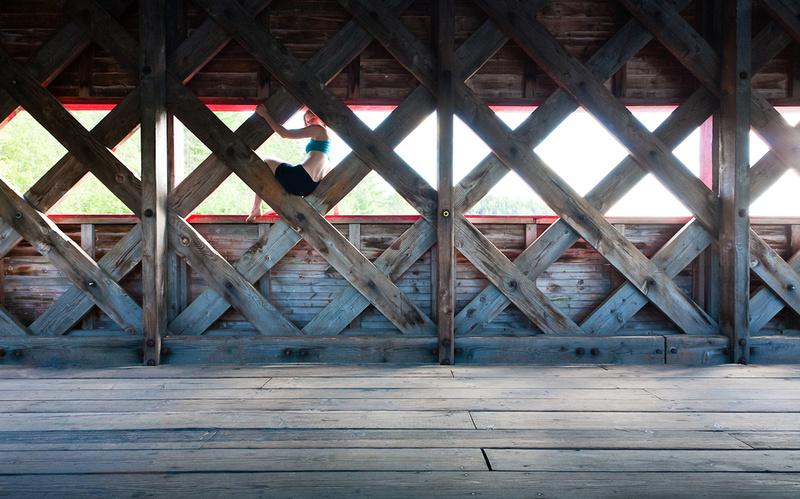 Wooden beams in Wakefield covered bridge