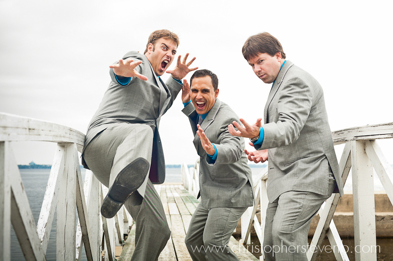 funny bridaly party with groomsmen doing jump kicks