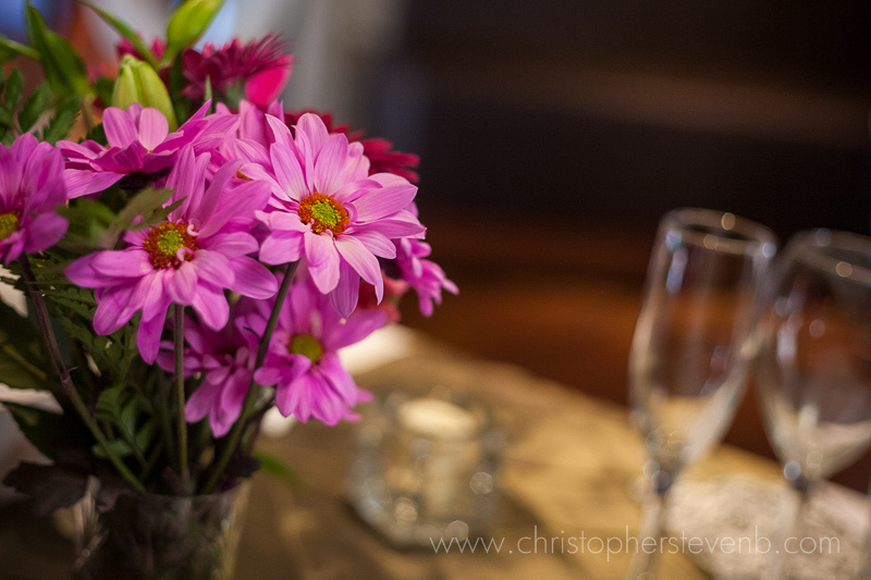 flowers on table setting at the Blue Cactus in the Byward Market