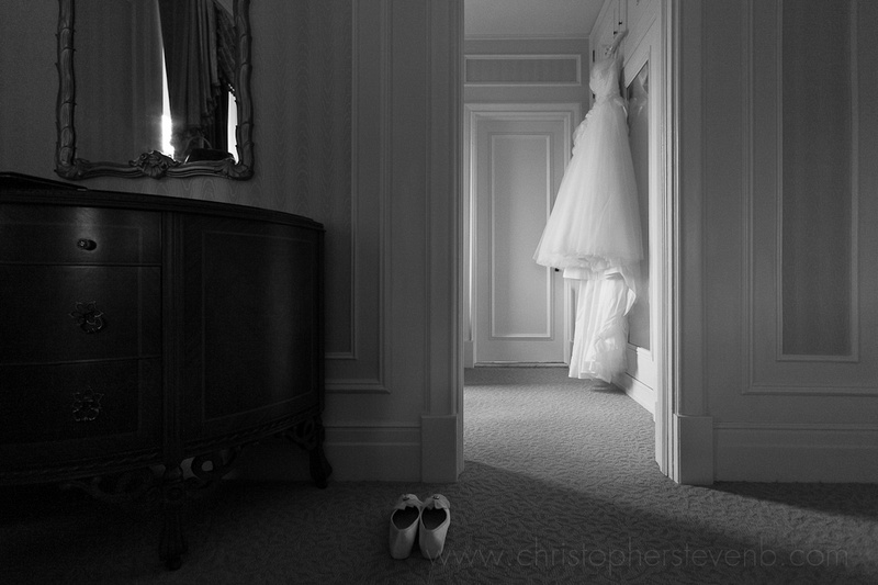 Shoes and hanging dress in Chateau Laurier presidential suite hotel room