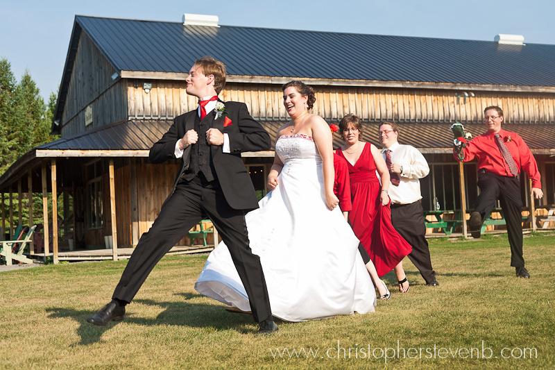 bridal party strutting around