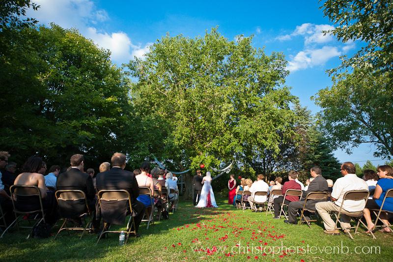 wedding ceremony outside on Saunders Farm