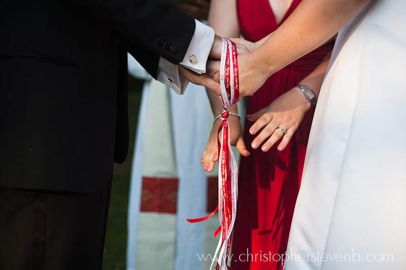 handfasting ritual during wedding ceremony