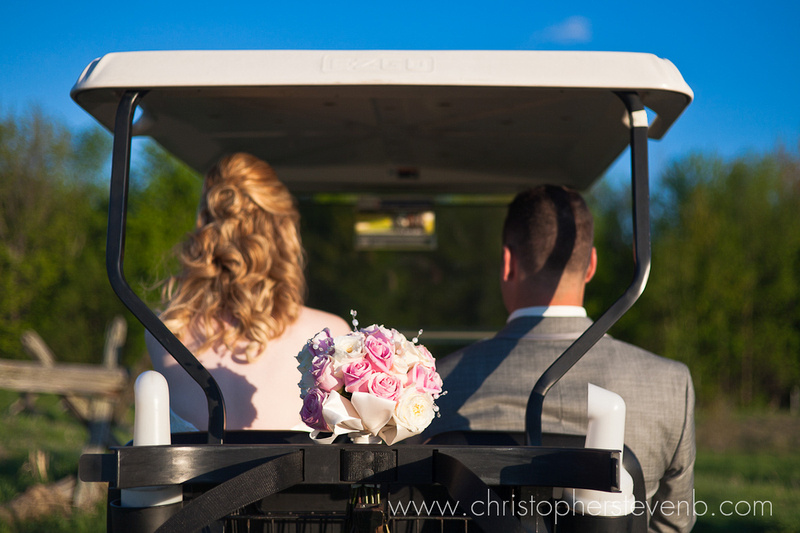 bouquet in the back of golf cart at Greyhawk