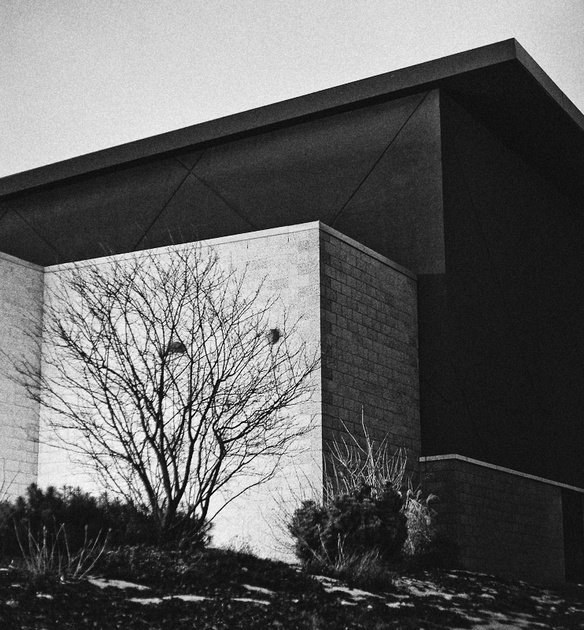 Mckechnie library architecture in black and white