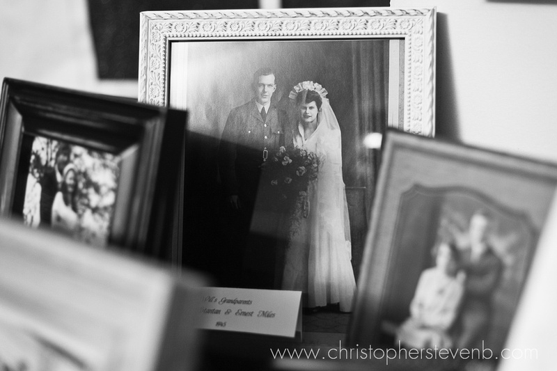 Old wedding photos in frames