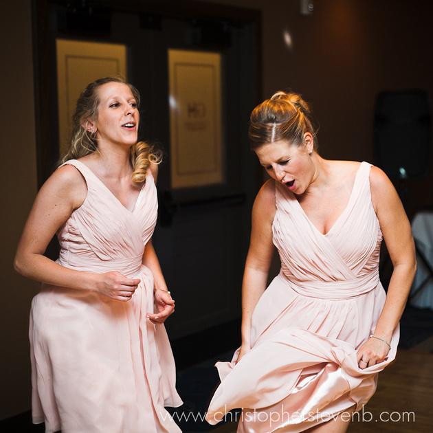 bridesmaids dancing at reception