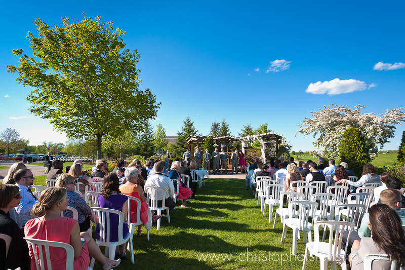 Wide photo of ceremony at Greyhawk Golf Course wedding