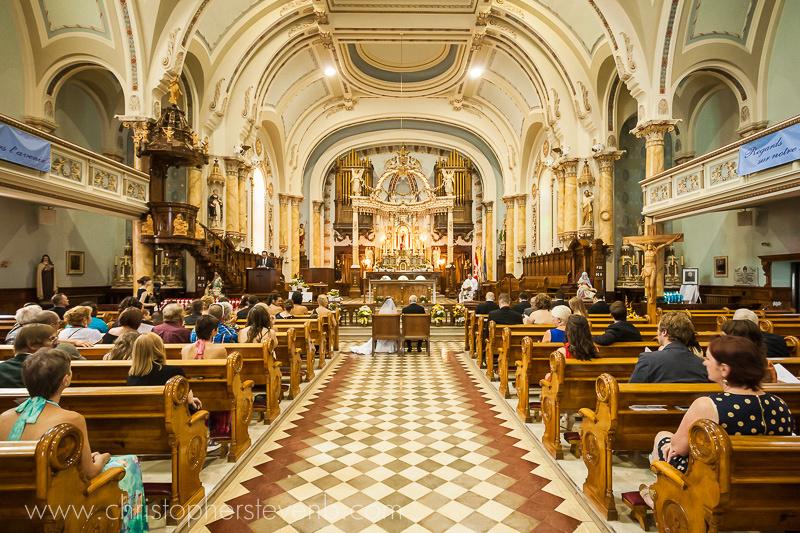Holy Trinity Roman Catholic church in Rockland interior during wedding