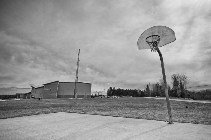 Basketball net in Pelican Falls school yard