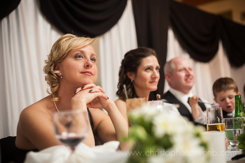 bridesmaid watching speeches