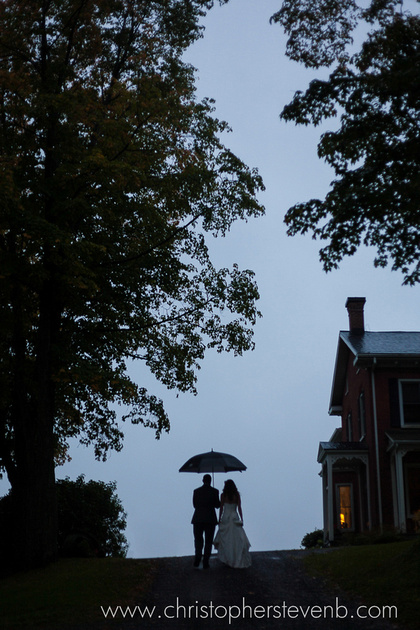 silhouette of bride and groom and umbrella with blue sky and trees