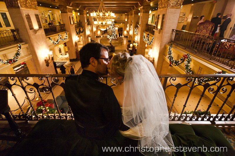 bride and groom on the mezzanine of the Fairmont Royal York