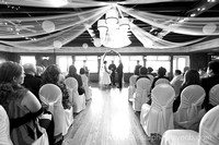Wide photo of attendees of Britannia Yacht Club Wedding ceremony