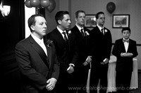 groom and groomsmen waiting during wedding ceremony