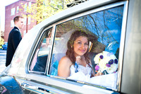 bride in limo outside of blessed sacrament church