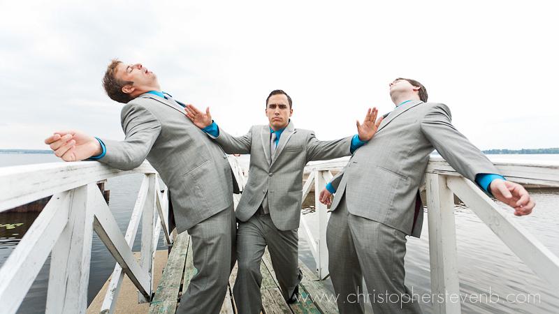 groom karate chopping his groomsmen