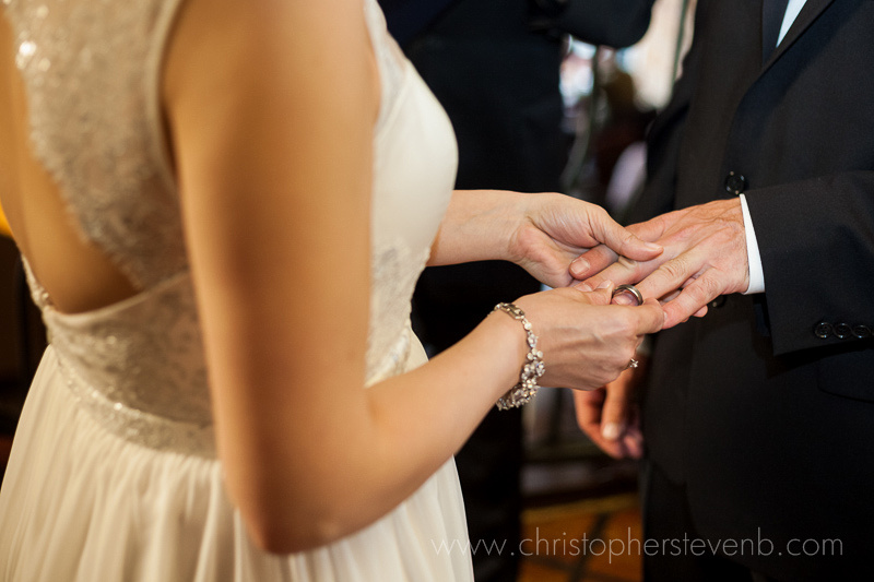 ring exchange during Blue Cactus wedding