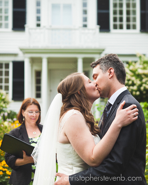 first kiss at Billings Estate wedding