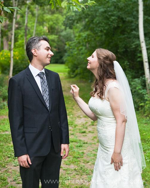 bride teasing groom