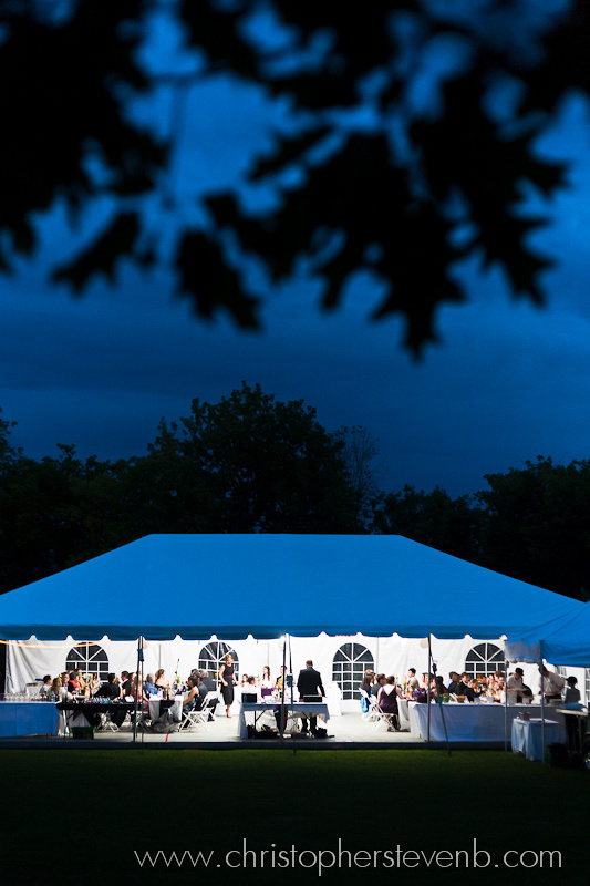Billings Estate wedding with wedding reception under tent, leaves in foreground and blue night sky