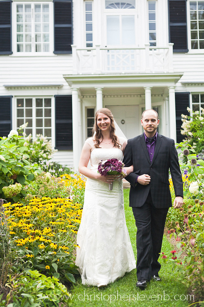 wedding processional with garden and estate
