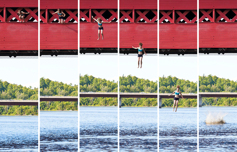 Wakefield bridge jump into Gatineau River near swimming rocks