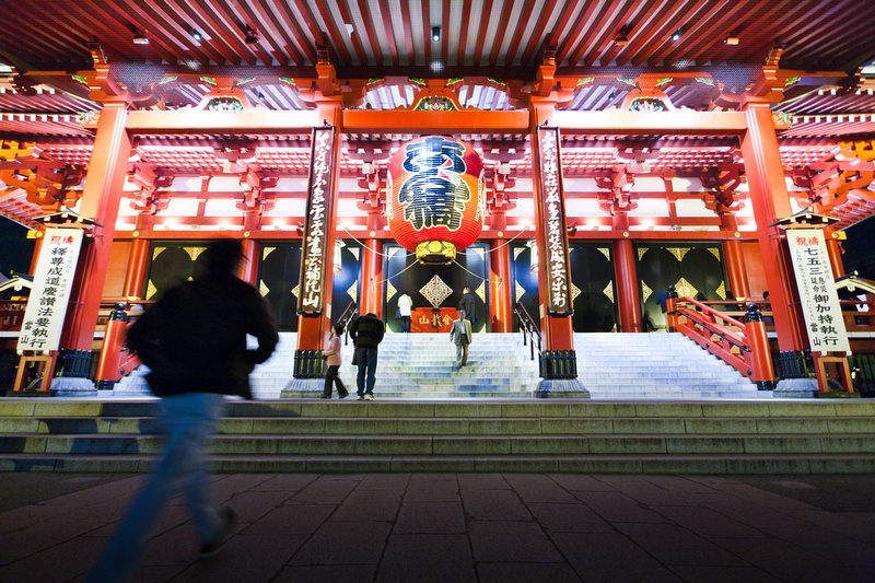 Temple in Market area of Japan