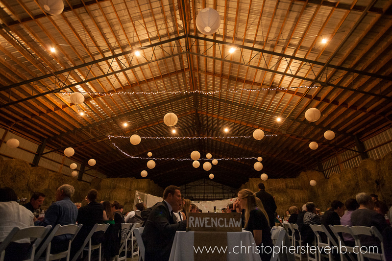 view of the roof of the rustic barn with lights and lanterns