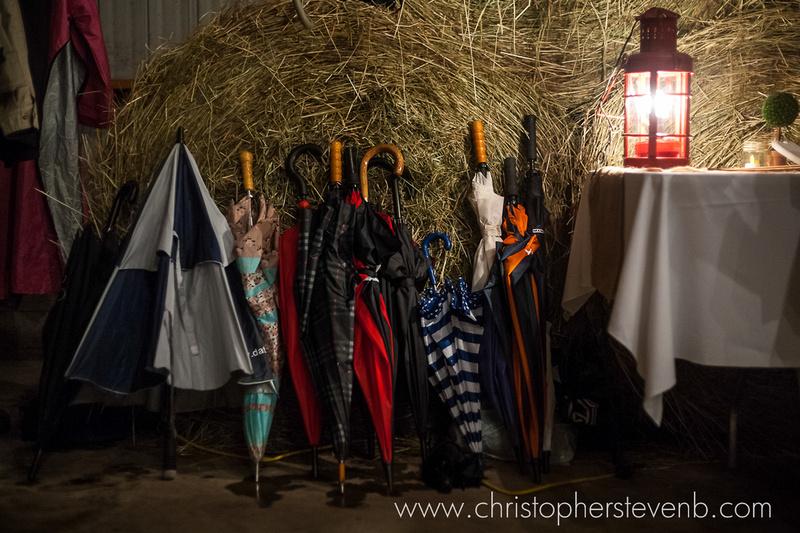 ubrellas at rainy day wedding at rustic barn wedding in Hawkesbury