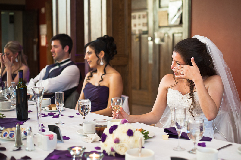 Bride crying during emotional speech at wedding