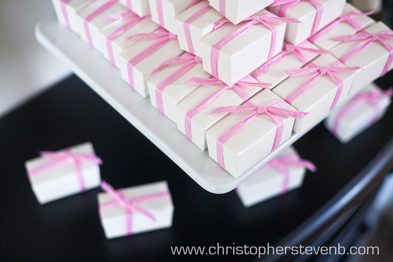 Wedding Bomboniere box with pink ribbon