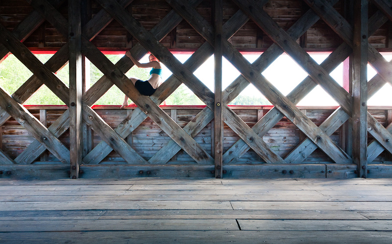 Wooden beams in Wakefield covered bridge