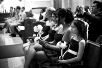 bridesmaids in B&W during ceremony at Blessed Sacrament