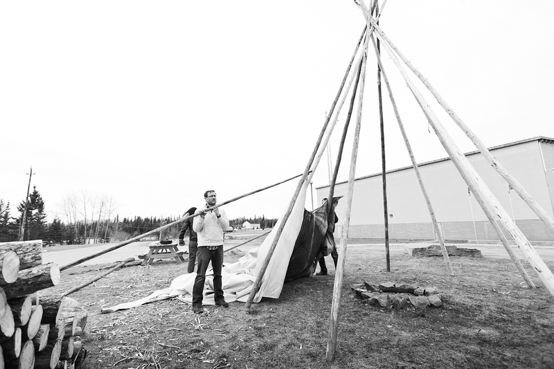 Teepee (tipi) being built at Pelican Falls Highschool