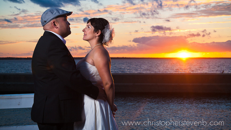 wedding photo of bride and groom at sunset