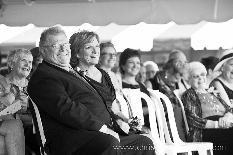 seated guests watching wedding ceremony