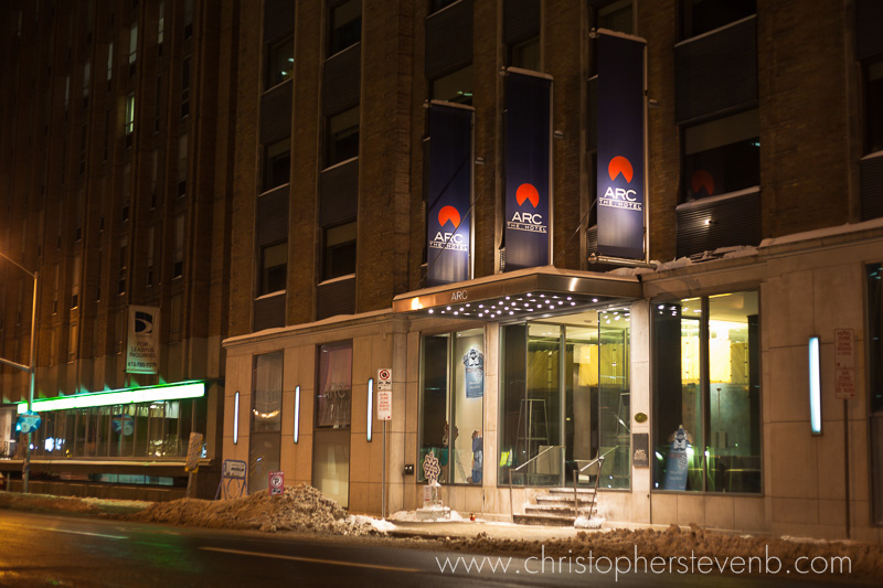 view of the front of Arc Hotel at 140 Slater st. in Ottawa