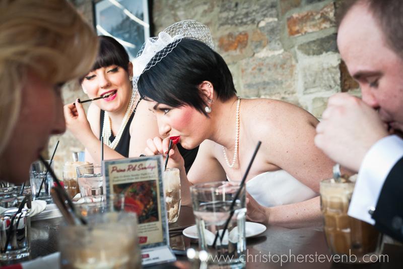 bride slurping root beer float at Mill St.